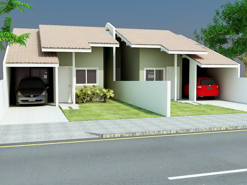 decoracao kitnet praia:Modelo casa popular geminada