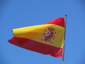 Bandeira com simbologia espanhola.