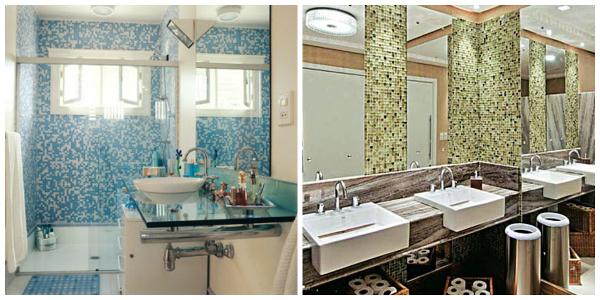 decoracao banheiro pastilhas:Os ambientes que possuem decoração em pastilhas, dão um ar de