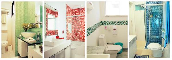 Os banheiros com pastilhas são lindíssimos e a aplicação das mesmas, muito fácil. Inove sua casa, com cores vivas e graciosas!