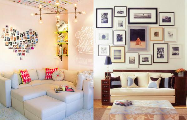 Decoração com fotografias. Créditos da imagem: 1° imagem: http://ideiasdefimdesemana.com 2° imagem: http://www.decoracao.com/