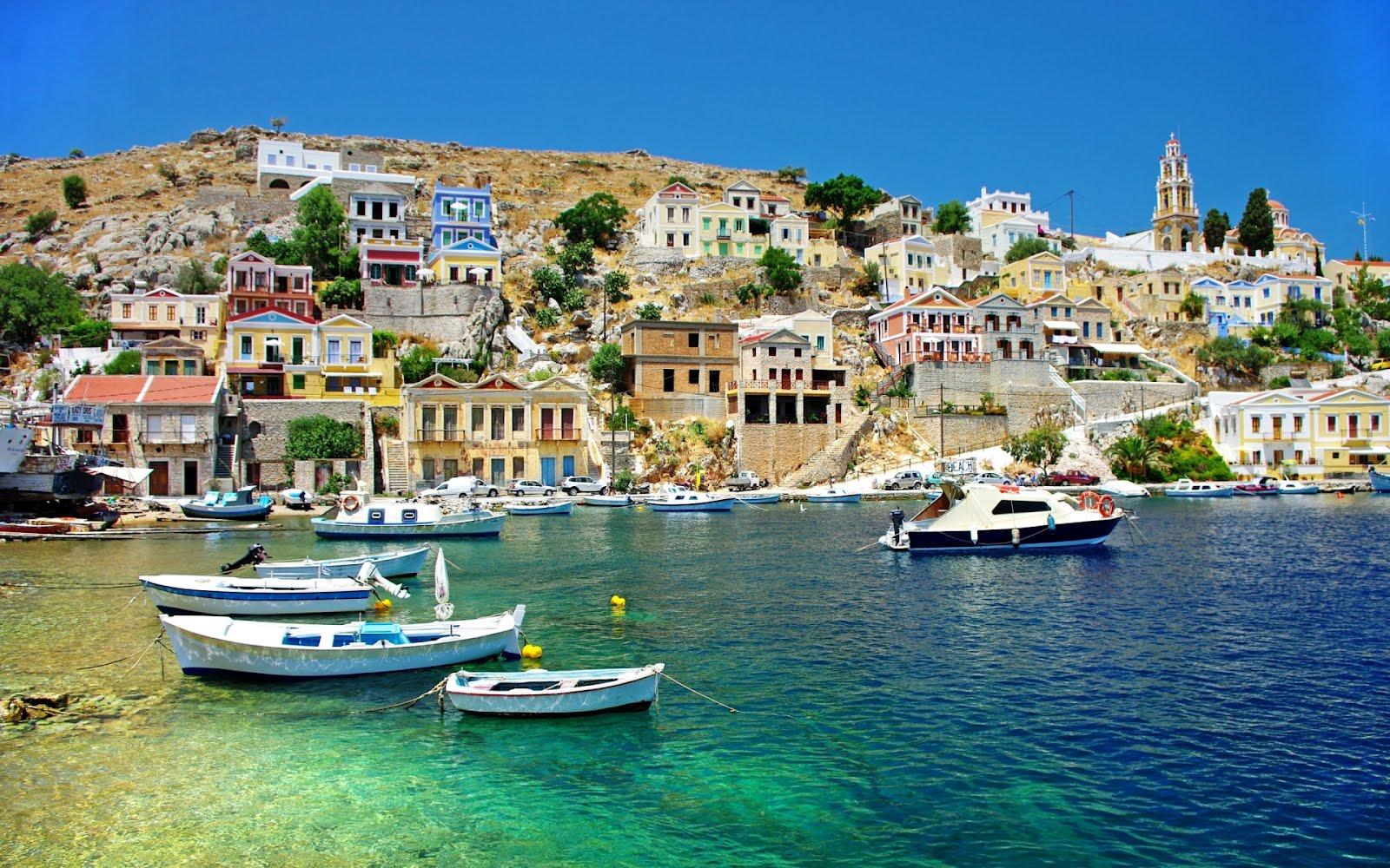 Imagem das águas cristalinas da Grécia