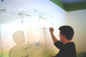Professor escrevendo em quadro branco