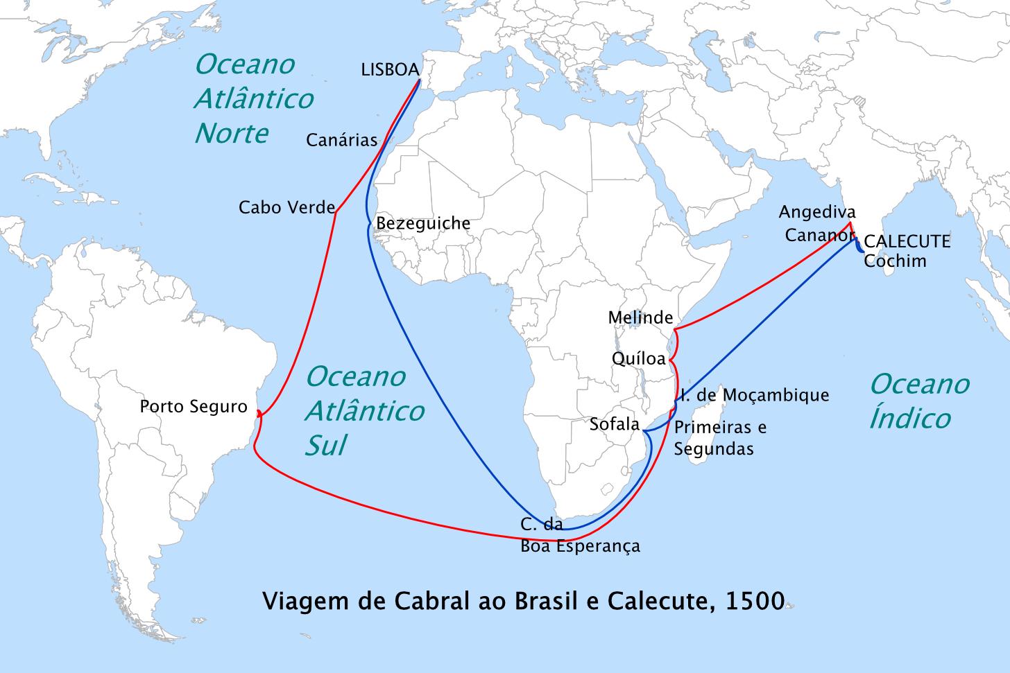 Rota da expedição de Cabral (Foto: Reprodução)