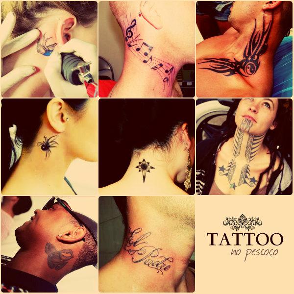 Símbolos e desenhos de tatuagens na área do pescoço.